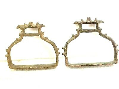 1900's hand crafted pair of antique horse strips foot rest brass made