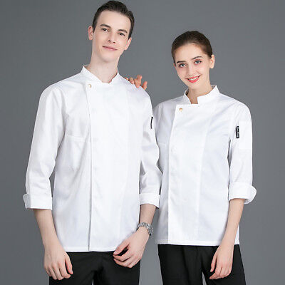 Unisex Long Sleeve Chef Coat Jacket Cooker Overall Uniform Hotel Soft Workwear