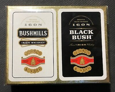 Vintage 1970s 2 Pack BUSHMILLS Whiskey Playing Cards Set Black White Gold