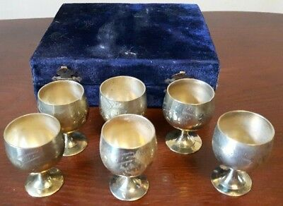 Set Of 6 Silver Plated EPNS Mini Goblets Cups - Boxed