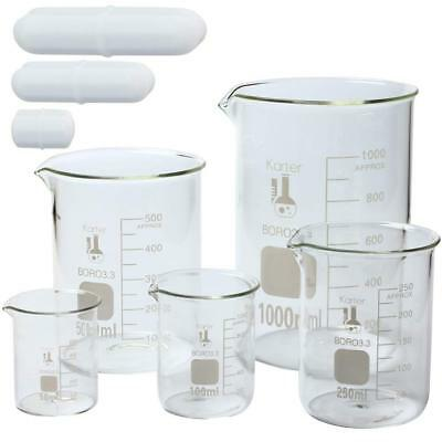 Glass Low Form Beaker Set w/ Magnetic Stir Bar Set, 50, 100, 250, 500, and 1L KS