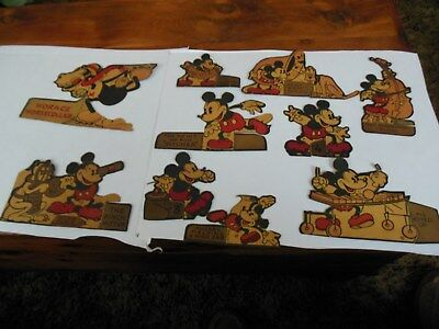 10 ea. Vintage Disney cardboard cutouts believed to be from 1930's