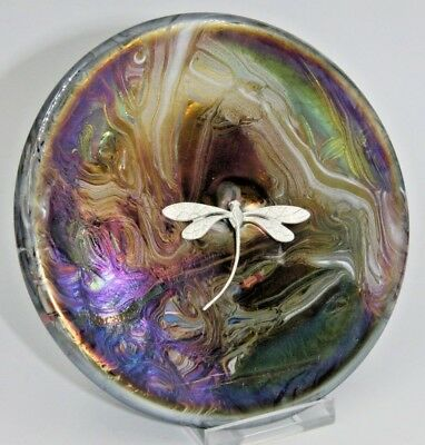 Neo Art Glass rainbow disc paperweight sterling silver dragonfly signed K.Heaton