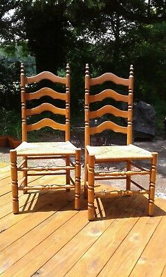 Set of Four Vintage Mid 20th Century Early American Ladder Back Dining Chairs