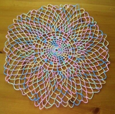Pretty Vintage Hand Crocheted Multi Color Doily Flower