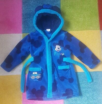 Boys Disney Mickey Mouse Dressing Gown Size 18-23mths - VGC