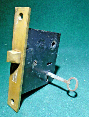 JAPANNED READING HARDWARE (R.H.C.) MORTISE LOCK w/ KEY - RECONDITIONED! (11143)