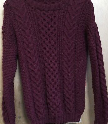 "Hand Knitted Aran Jumper, Wool/ Acrylis Mix. Large 40"" Chest ...stretches"