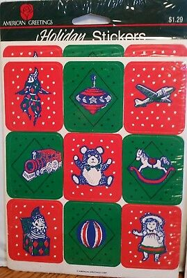 Vintage Lot Stickers 3 pks American Greetings Christmas Old Toys Crafts Card NOS