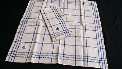 2x old german linen kitchen cloths with blue checkered pattern with roses