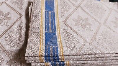 one old german ecru linen kitchen towel napkin with blue /yellow border pattern