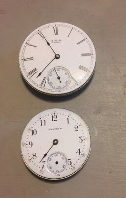 Pair Of Antique Waltham Pocket Watch Movements For Repair Or Parts 15 Jewels