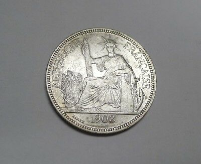 Fantastic 1903A Crown Size Silver Piastre FRENCH INDO CHINA! Awesome Details!