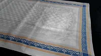 old linen kitchen Runner Towel with blue and yellow border and Art Deco pattern