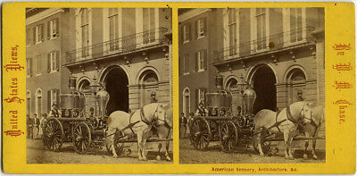 Stereoview of Early Fire Engine on Street by W. M. Chase of Baltimore, Maryland