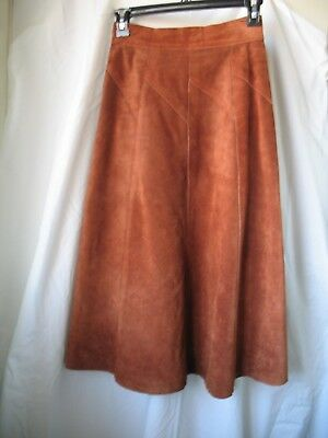 Vintage Retro 1970s Copper Brown Suede A Line Skirt Made in Argentina s 7 / 8