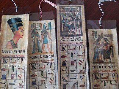 Set of 4 Egyptian Genuine Papyrus BookMark, Ancient Egypt Language-free shipping