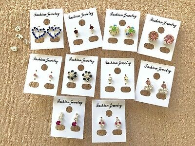 JOBLOT-10 pairs of different styles crystal/colour diamante stud earrings.