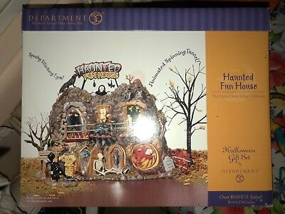 2001 Department 56 Snow Village Halloween Haunted Fun House Nib 56-55094