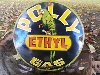 Old 1951 Dated Polly Ethyl Gas Porcelain Gas Service Station Pump Sign