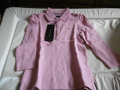 BNWT Girls Tommy Hilfiger Pink Long Sleeved Polo Shirt Size 3