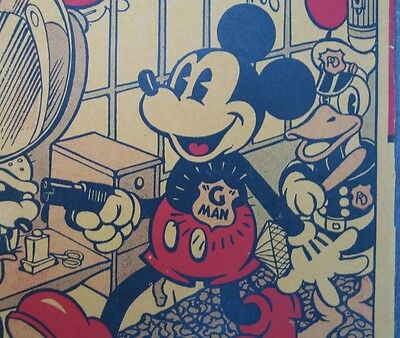 "Vintage 1936 Mickey Mouse ""G"" Man - Picture Puzzle Game-The Big Diamond Robbery"
