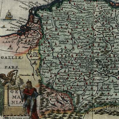 Germany Europe Holland to Poland c.1683 Bertius beautiful decorative old map