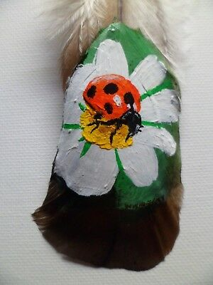 LADYBUG ON FLOWER-Hand painted rare turkey feather, by artist W. W. Hoffert