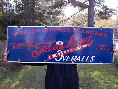 Large Vintage 1920's Porcelain Sign Free Land Overalls Union Made Work Clothes