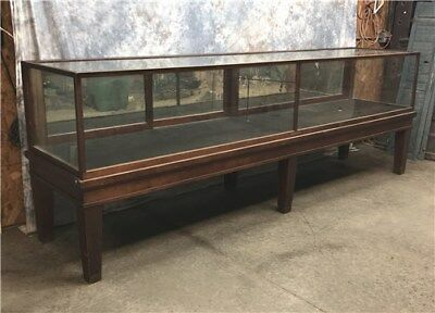 10' Vintage Walnut Store Display Case Cabinet, Wood Glass Showcase Store Counter
