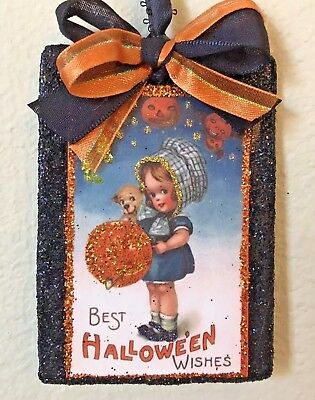 Hand Made ~ Vintage Inspired Glitter wood Halloween Ornament JOL & Girl and Dog