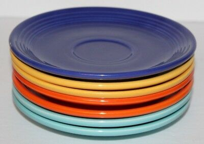 """Vintage Lot of 7 Fiesta Saucers Multiple Colors 6 1/8"""" Inches Wide"""