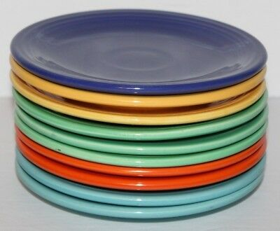 """Vintage Lot of 10 Fiesta Bread Butter Plates Multiple Colors 6 3/8"""" Inches Wide"""