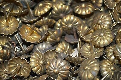 One Antique Lot of 10 Ornate Large French Brass Upholstery Nails Tacks Nailheads