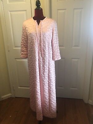 Vintage VANITY FAIR Women's Long Robe Pink Quilted Zipper Down Size 14