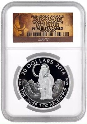 2014 NGC PF70 Early Releases $20 Woolly Mammoth Canada 1 oz Proof Silver Coin BB