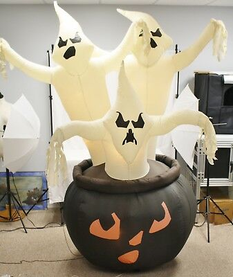 Gemmy Halloween Airblown Inflatable 7 1/2' Tall 3 Ghosts in Black Cauldron
