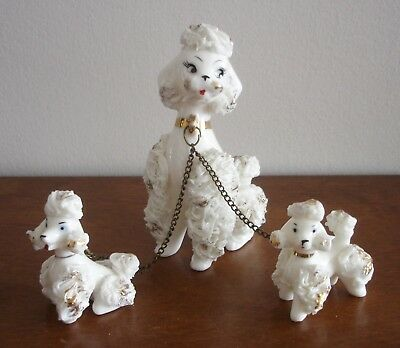 3 Vintage Porcelain Spaghetti Poodle Dog / Puppy Figurines w/ Chains JAPAN