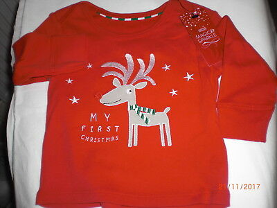 M&S Christmas Top 3 mths Red long sleeve  Rudolh 'My First Christmas' BNWT