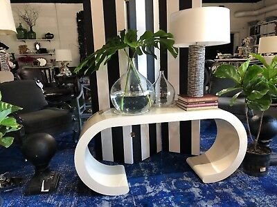"""1970s Mid Century Karl Springer Style Laminate Waterfall Console Table 59.5"""""""