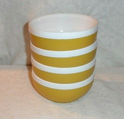 Set Of 4 Gold Royal Satin Plastic Therm-O-Ware Snack Cereal Bowls