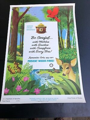 Vintage Smokey The Bear Forest Fire Prevention Poster 1956