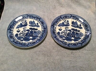 Set of 2 Vintage Blue Willow Divided Chop Grill Plates Made in Japan 10.5 inches