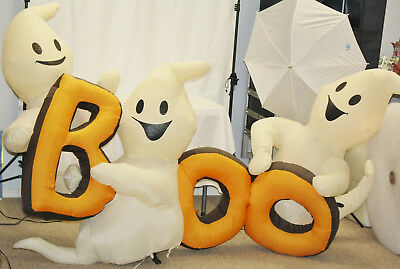 "8' GEMMY Halloween ""BOO"" w/ Happy Ghosts Lighted Air Blown Inflatable"