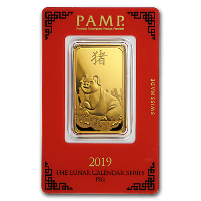 1 oz Gold Bar - PAMP Suisse Year of the Pig (In Assay) - SKU#173456
