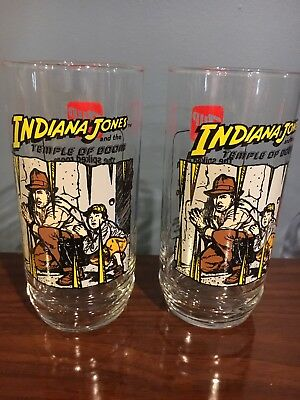 Two Indiana Jones Temple of Doom Vintage Drinking Glasses ~ 7-UP 1984