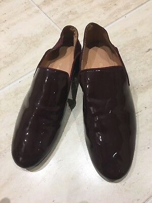 ZARA LADIES BROGUE SHOES Size 3 BURGUNDY PATENT LEATHER