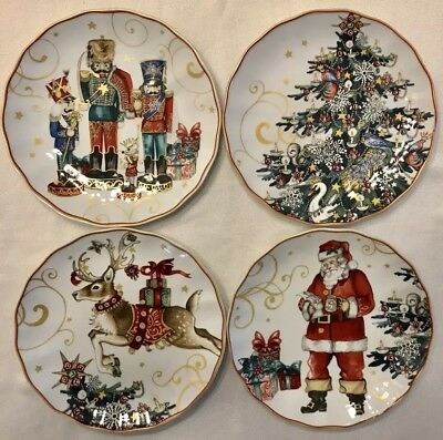 WILLIAMS SONOMA TWAS THE NIGHT BEFORE CHRISTMAS Variety Set 4 SALAD PLATES NEW