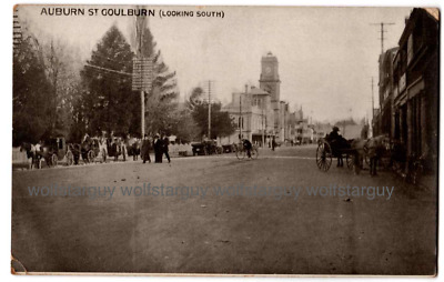 AUBURN ST GOULBURN USED POSTCARD VINTAGE Early 1900s rare Horse drawn carriage
