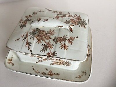 Antique Victorian  PORCELAIN SARDINE DISH c1890 Base Stamped Pineapple Design